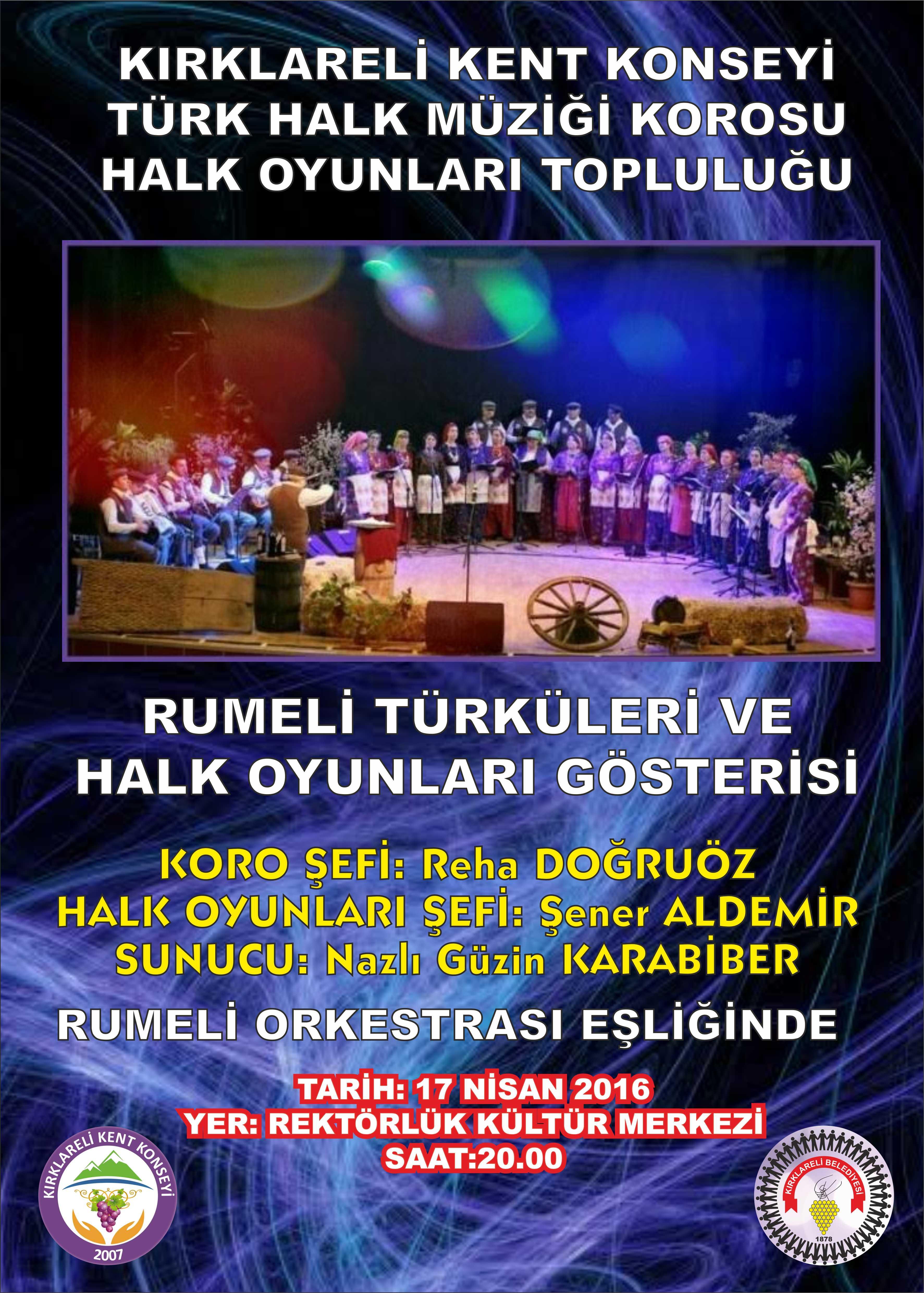 Kırklareli Kent Konseyi Türk Halk Müziği Korosu ve Halk Oyunları Topluluğu Gösterisi Duyuru Afişi